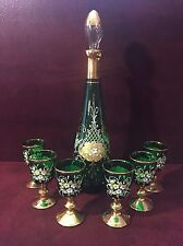 VINTAGE SIGNED MURANO GLASS DECANTER + 6 SHOT GLASSES - EMERALD GILT & ENAMEL