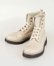 New BRUNELLO CUCINELLI Beige Leather Ankle Boots Shoes Size 37.5/7.5 $1895