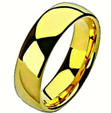 Gold Plated Unisex Fashion Titanium RING, Wedding Band, size 7 -NEW- in Gift Box
