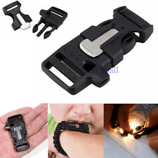 For Paracord Bracelet Side Release Whistle Buckle Flint Fire Starter & Striker