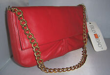 ~ Sumptuous BUTTER SOFT Real LEATHER Red Chain Handle BILLY BAG UNWORN With TAG~