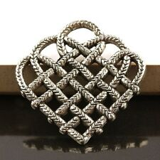 15Pc Silvery Knitting Braided Mesh Heart Shaped Connector Link DIY Bead 28x27mm