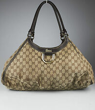 Authentic GUCCI D-Ring bag Large GG logo Canvas Hobo LEATHER TRIM borsa grande