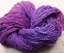 Cotton yarn hand dyed lace weight 410 yds lilacs boucle'