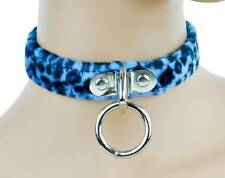 Blue Fuzzy Leopard Animal Choker O Ring Collar Rockabilly 50's Pinup Psychobilly