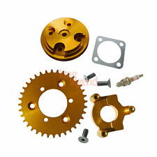 Gold CNC 36T Sprocket Assembly Cylinder Head Cover For 80cc Motorized Bike