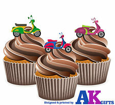 Vespa Scooters  Mods 60's 1960 12 Edible Stand Up Cup Cake Toppers Decorations