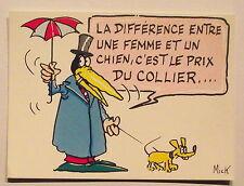 Carte postale La difference entre une femme et un chien,c'est le prix du collier