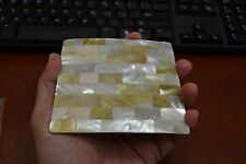 GOLDEN MOTHER OF PEARL SHELL BLANK INLAY WHITE BACK STICK ON #T-130B