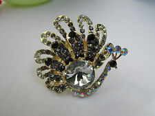 WOMEN SILVER PEWTER RHINESTONES BIG METAL PEACOCK FASHION RING ELASTIC SIZE