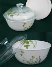 Corelle EUROPEAN HERBS 28oz Casserole BOWL w/PYREX Glass & Plastic COVERS *New