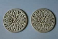 "Embossed Sunflower Design Wood Applique - ONLAY - 3"" Round- Pair of 2"