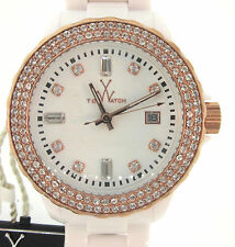 TOY WATCH-Brand New Authentic White Swarovski Crysta lFashion Chrono ROSE Gold