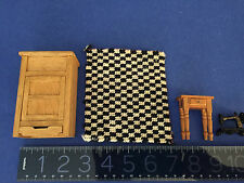 Old Fashioned miniature icebox,handmade needle point rug,table for doll house