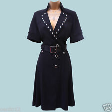 KAREN MILLEN 1940's Black Studded Shirt Style Fit Flare Cocktail Dress 10 UK