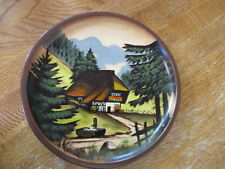 "PLATE, 7"" WOOD, HANDPAINTED, GERMAN BLACK FOREST REGION, HANDARBEID SCHWARZWALD"