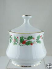 Pearl NOEL Liling China Sugar Bowl & Lid Christmas Holly Black Stamp