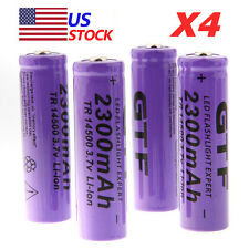 4X 14500 3.7V 2300mAh Li-ion Rechargeable Battery For LED Flashlight Torch TOP!