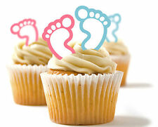 ✿ 24 Edible Rice Paper Cup Cake Toppings, Cake decs - Baby Feet Pink and Blue ✿