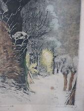 BELLE LITHOGRAPHIE Michel BERNIER (1888-1942) EPREUVE D'ARTISTE Paysage d'hiver