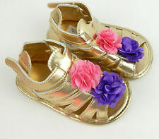 Toddlers Girl 6-9M Gold Baby Shoes Sandals Pink Purple Flowers, Baby, Infant