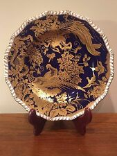 Royal Crown Derby COBALT BLUE GOLD BIRDS PARADISE Luncheon Cabinet Plate