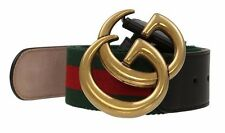 NEW GUCCI CURRENT WEB DETAIL CANVAS BLACK LEATHER DOUBLE G BUCKLE BELT 80/32