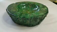 VINTAGE GENUINE ALABASTER ASHTRAY GREEN HAND CARVED ITALY MID CENTURY MODERN