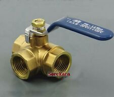 "Brass Tee T-Port Ball Valve Equal Female 1/2"" BSP with lever handle"