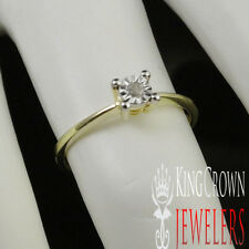LADIES WOMEN'S  SOLITAIRE LOOK GENUINE REAL DIAMOND GOLD FINISH ENGAGEMENT RING