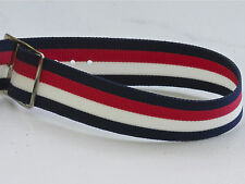 Vintage NOS watch 18mm nylon band 1960s red, white & blue stripes silver buckle