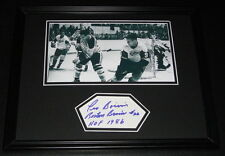 Leo Boivin Signed Framed 11x14 Photo Display Bruins