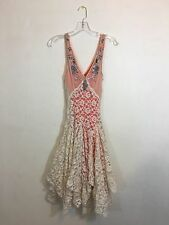 Free People FP One wedding boho cream lace beaded sleeveless coral lined dress s