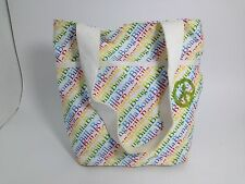 Billabong White Rainbow Printed Beach Tote Bag 9 X 10 X 5