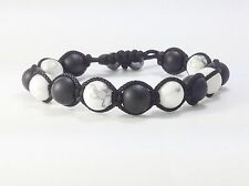 MENS Matte Black Onyx White Howlite Gemstone Yoga Mala Beaded Shamballa Bracelet