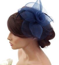 Elegant NAVY BLUE Large Flower Mesh Net Hair Clip Grip Fascinator Hatinator