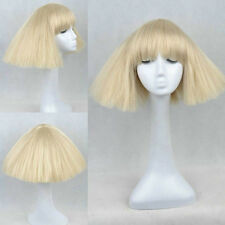 Lady Gaga Short Straight Fluffy Party Hair Full Wig Light Blonde Cos Wig