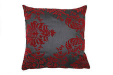 x4 CHARCOAL & BURGUNDY DAMASK PRINT FAUX SOFA CUSHIONS COVERS SIZE 45x45cm 18""