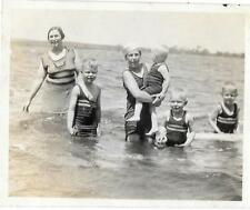 Vintage Old 1920's Photo Mother with FIVE Sons Little Boys Swimsuit Fashion CUTE