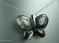 Sterling 925 Silver MOP Mother Of Pearl Grey BUTTERFLY Necklace - Tiffany Hall