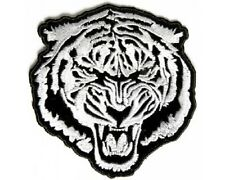 "(L05) Large WHITE BARON TIGER 9.5"" x 10"" iron on Back patch (3525) Biker vest"