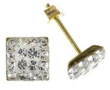 9CT YELLOW GOLD 6MM SQUARE CUBE CRYSTAL BALL STUD EARRINGS PIERCED GIFT BOX