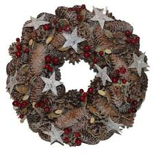 Christmas Decoration Berry & Cone Natural Look Wreath - 31cm Round Shape