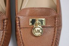 NIB MICHAEL KORS Size 9 Women's Luggage 100% Grain Leather Gold HAMILTON Loafer