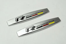 2Pcs For VW R R-Line Metal Auto Front Side Fender Silvery Sticker Badge Emblems