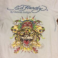 Ed Hardy By Christian Audigier T-Shirt Tiger Skull Dragon Powder Blue Large