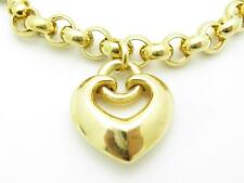 """18k Solid Yellow Gold Charm Link Heart Bracelet With Toggle Lock 7.5"""" Length"""