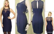 NWT GUESS Los Angeles Size 2 Dark Navy Mesh inserts Bodycon sheath Mini Dress