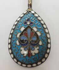 "Antique Russian silver & cloisonne enamel SPOON 4.2"" - 13g - Maker A.H. Russia"