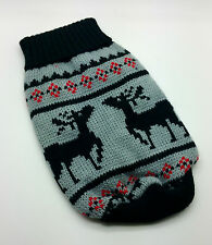 SMALL 24CM GREY BLACK DEER DOG JUMPER CLOTHES CHIHUAHUA MALTESE YORKIE PUPPY